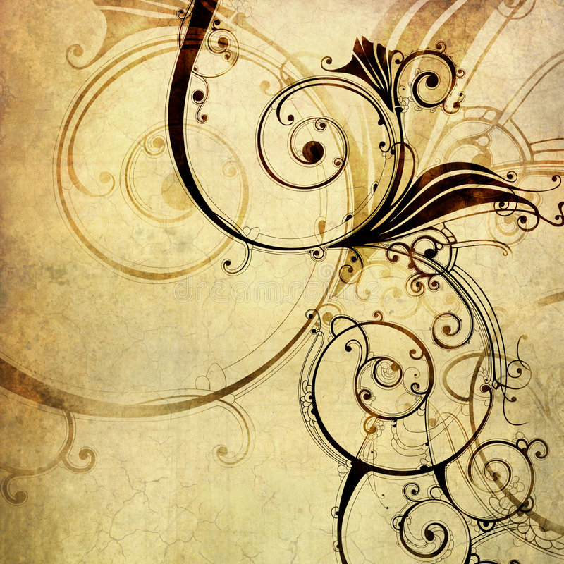 Old paper with floral pattern royalty free illustration