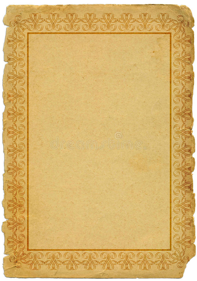 Old Paper With Frame Stock Photo
