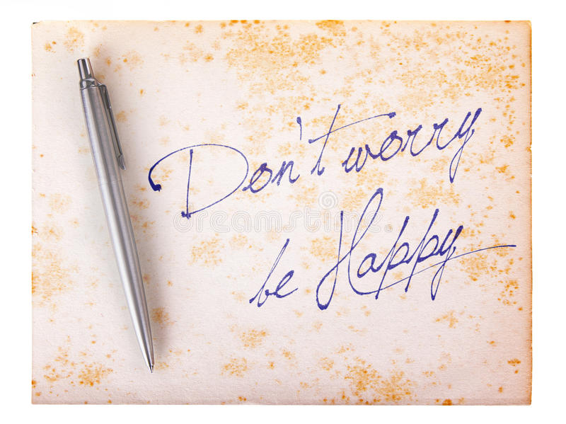 Old paper grunge background - Don't worry be happy royalty free stock photos
