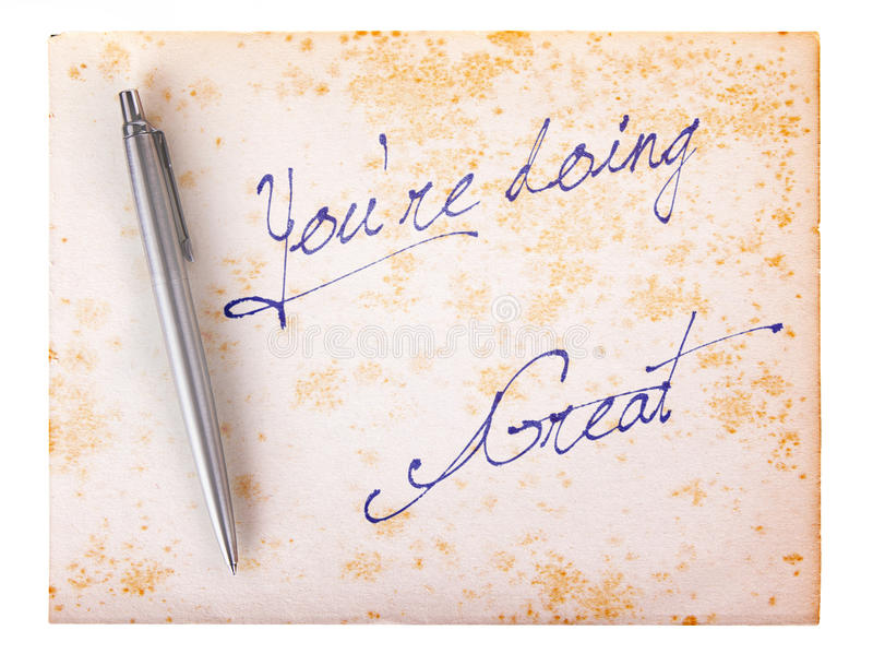 Old paper grunge background - You're doing great. Old paper grunge background, white and brown - You're doing great stock photo