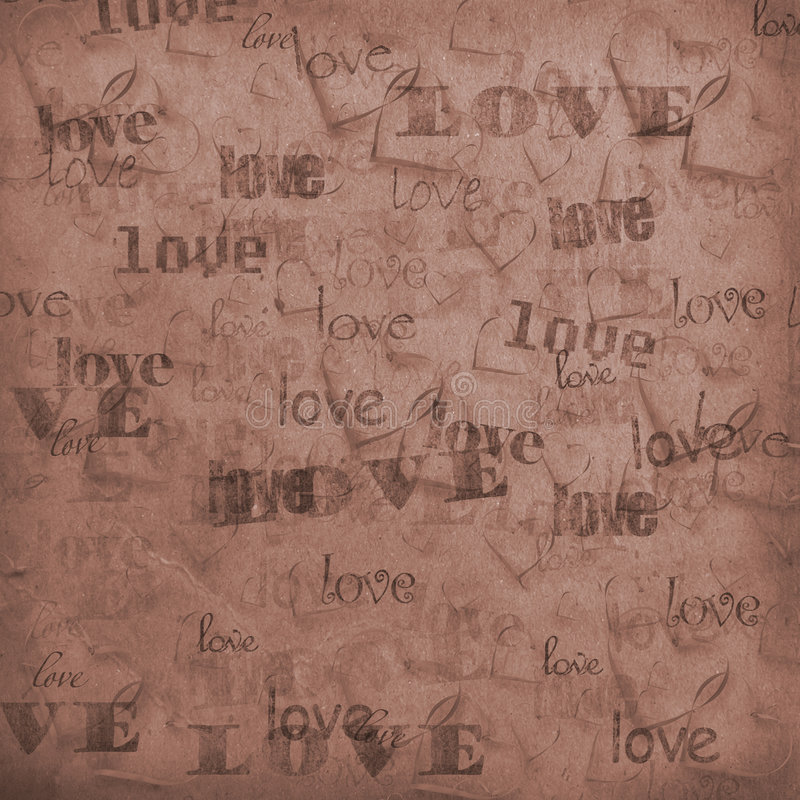 Old paper in grunge style. Abstract background with hearts royalty free illustration