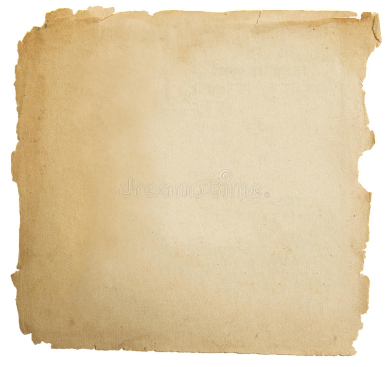 Old paper grunge texture, empty yellow page isolated on white stock image
