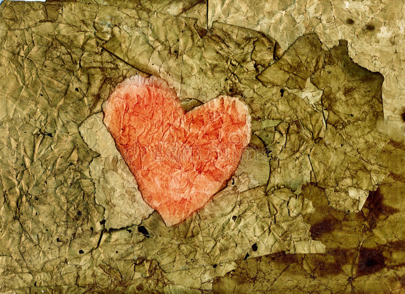 Old Paper Heart Stock Photography