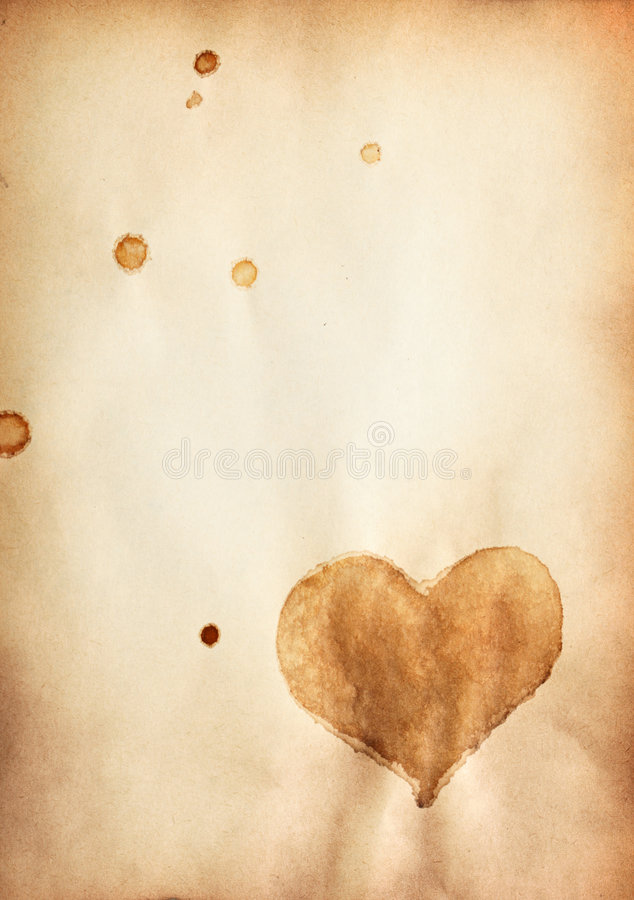 Old paper with heart symbol stock images