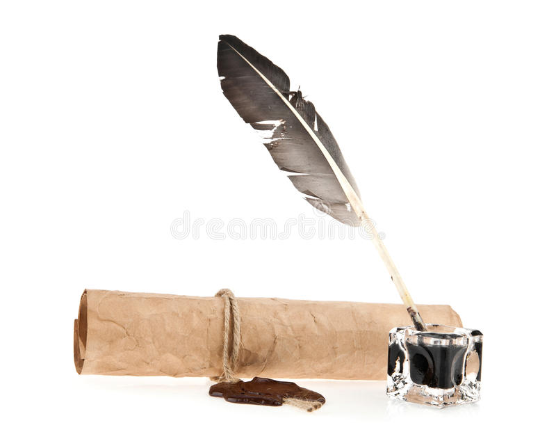 Old paper and ink-pot with a feather stock photography