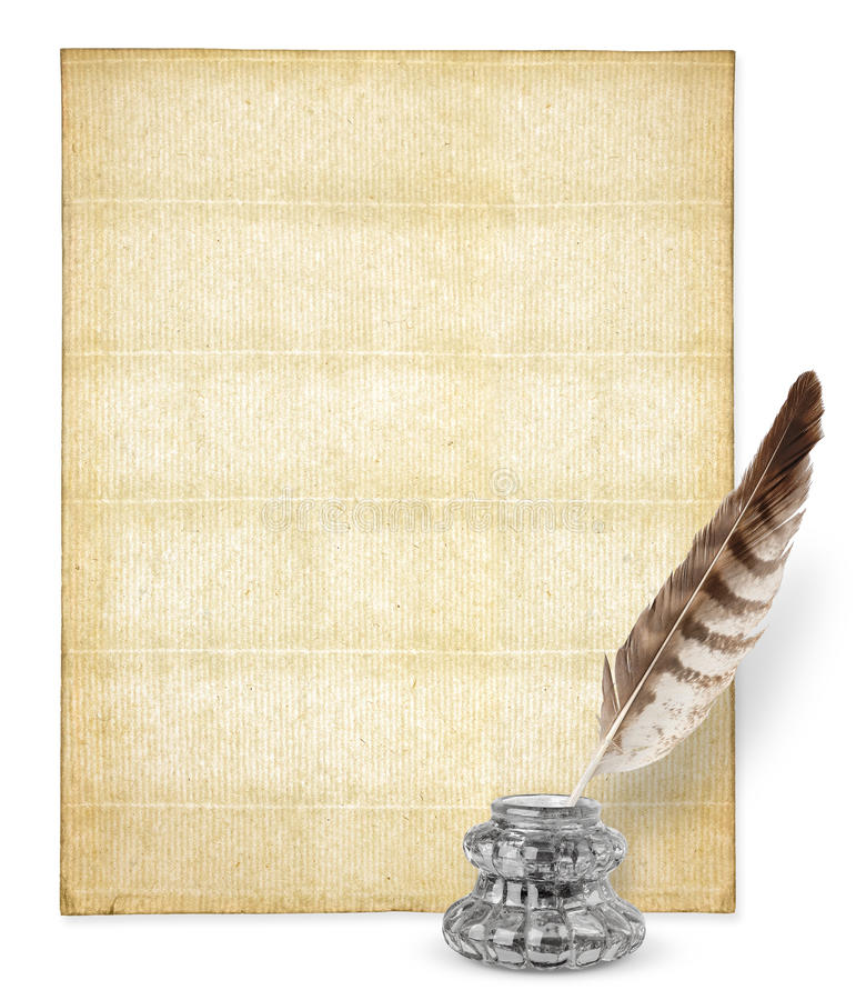 Download Old paper and inkstand stock photo. Image of group, feather - 17642206