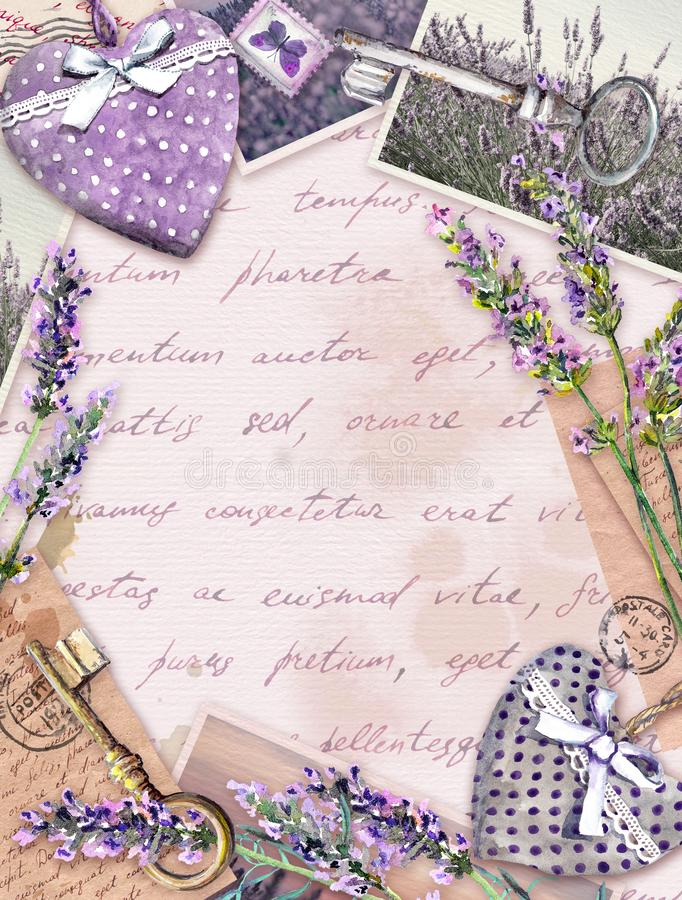 Old paper with lavender flowers, hand written letters, keys, textile hearts. Vintage card royalty free illustration