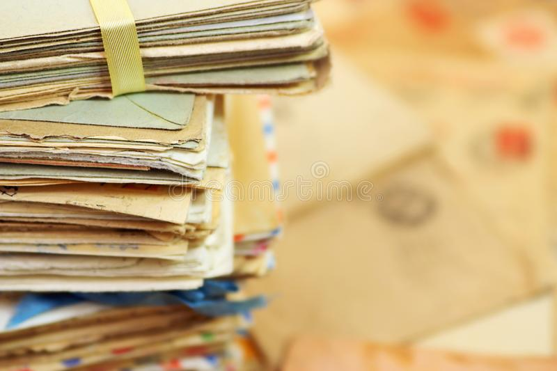 Old paper mail letters and the background stock images