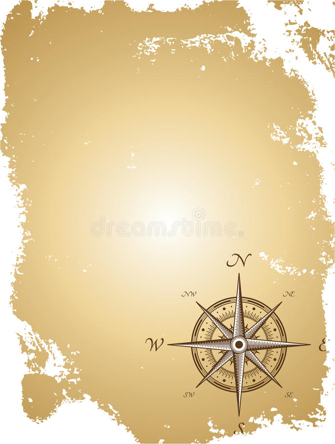 Download Old Paper Map With Compass. Vector Illustration Stock Vector - Illustration: 22021865