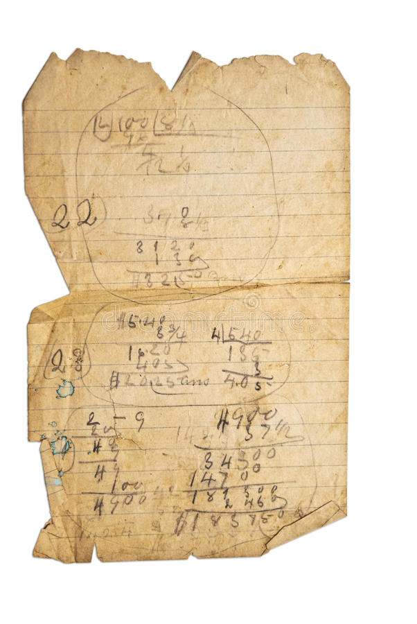 Old Paper With Math royalty free stock images