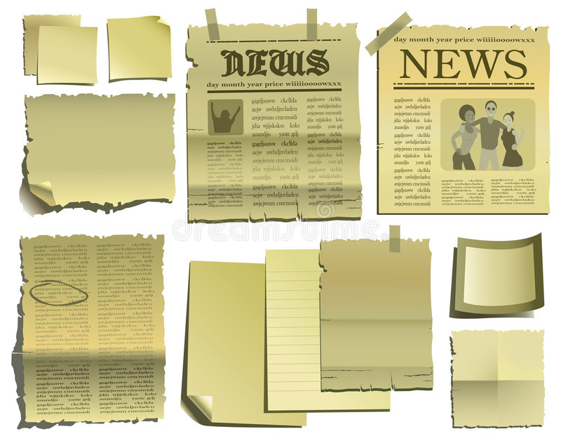 Download Old paper and newspaper stock vector. Illustration of isolated - 7501935