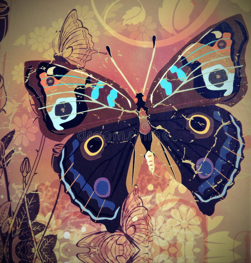 Old paper with painted butterfly royalty free illustration