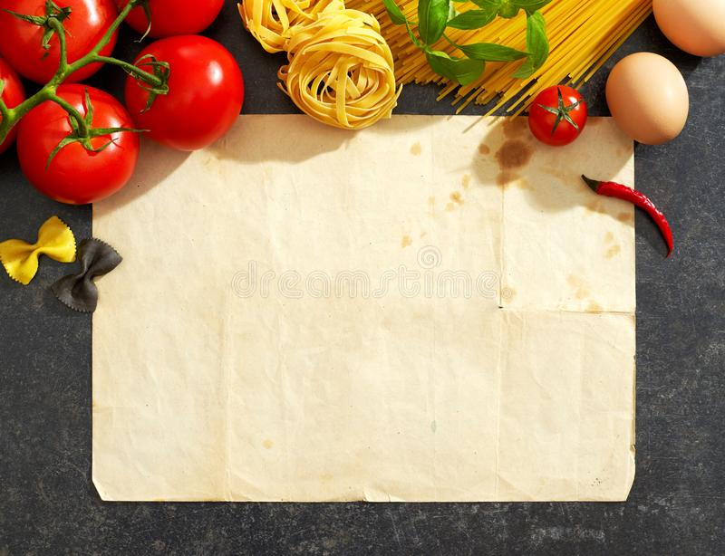 Old paper, pasta and ingredients stock images
