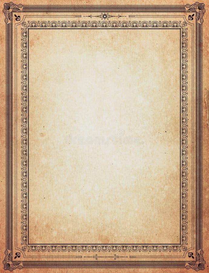 Old Paper With Patterned Vintage Frame Stock Image - Image of frames ...