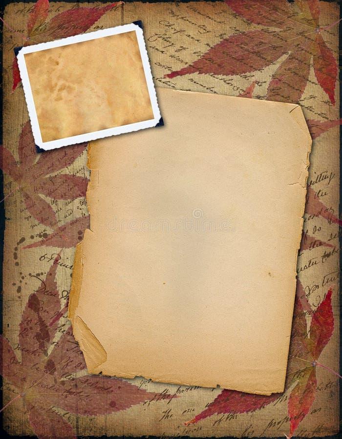 Old paper with photo-frameworks stock illustration
