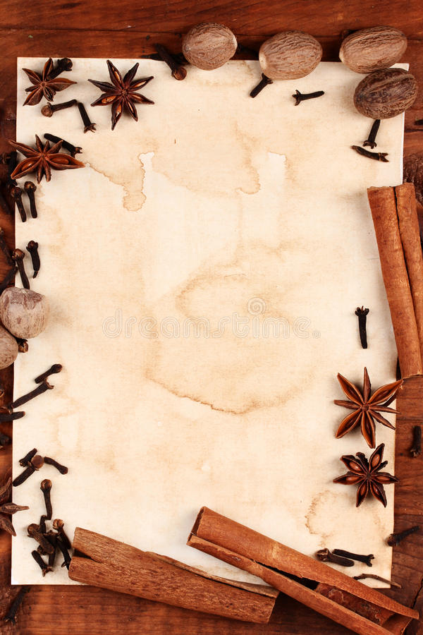 Old paper for recipes and spices royalty free stock photos