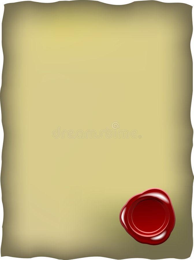 Download Old Paper With Red Wax Seal Stock Vector - Image: 7407050