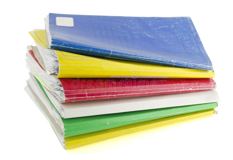 Old paper retro colored files royalty free stock image