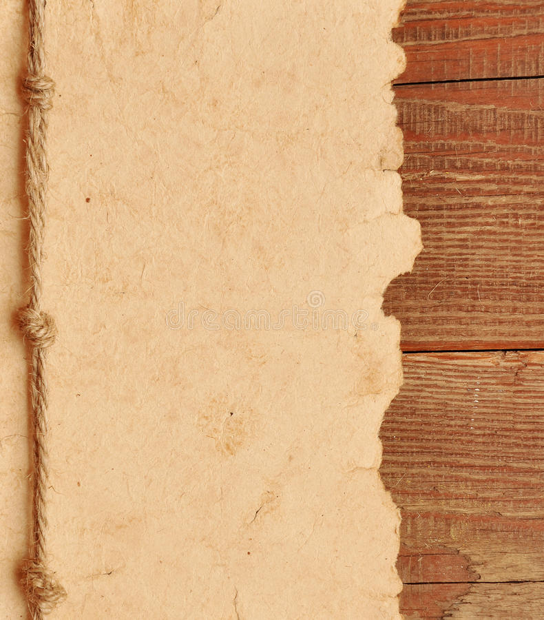Old paper with rope border stock image