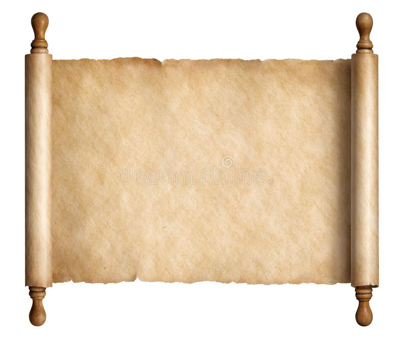 Old paper scroll or ancient parchment isolated on white 3d illustration royalty free illustration