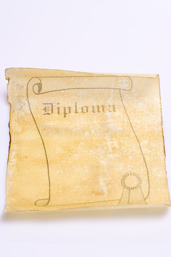 Old paper scroll diploma