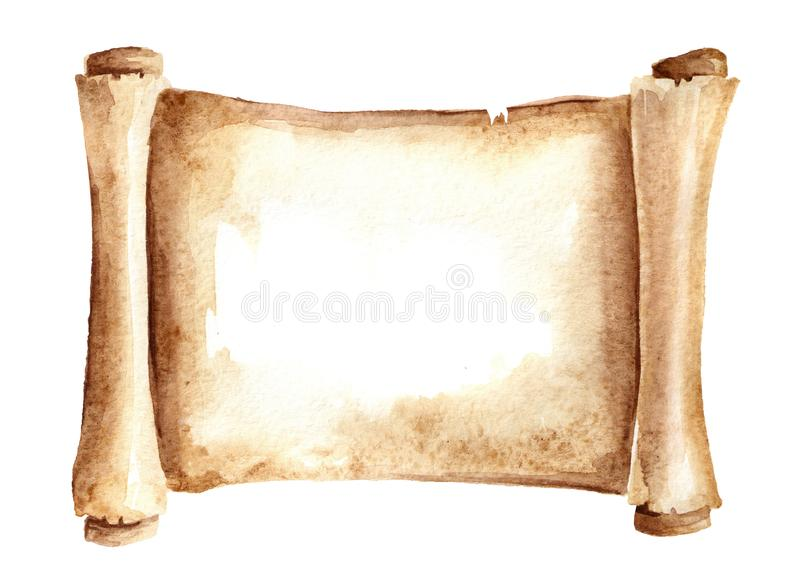 Old paper scroll or horizontal parchment. Watercolor hand drawn illustration isolated on white background. Old paper scroll or horizontal parchment. Watercolor stock illustration