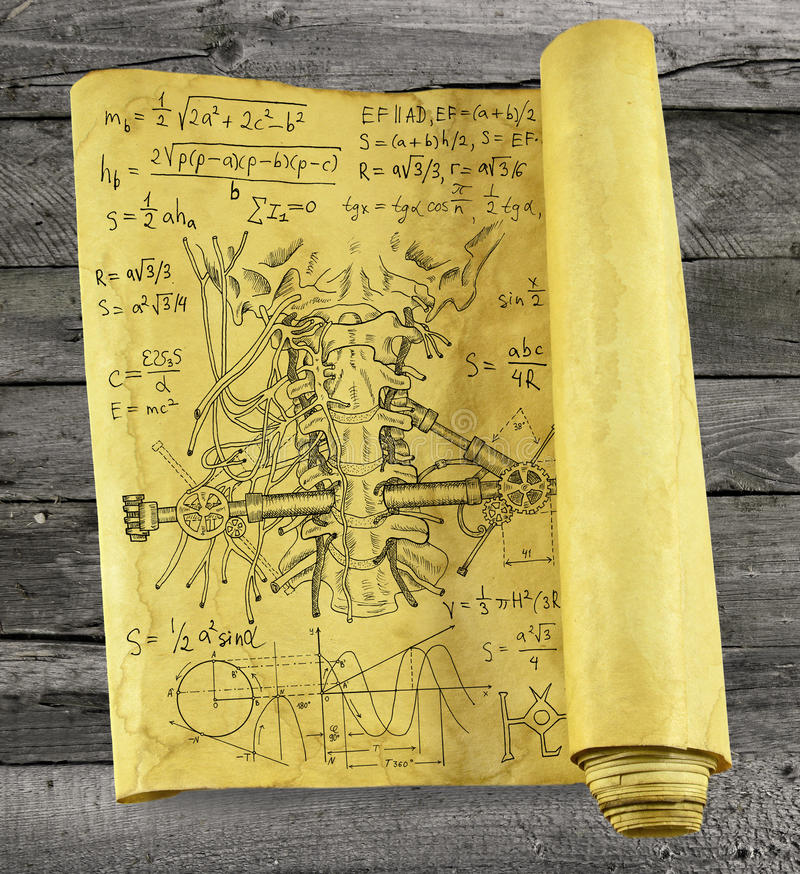 Old paper scroll with human throat, mechanical parts and formulas. On wooden background, steampunk style. Scary science concept royalty free illustration
