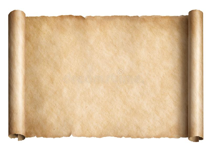 Old paper scroll or parchment isolated royalty free illustration