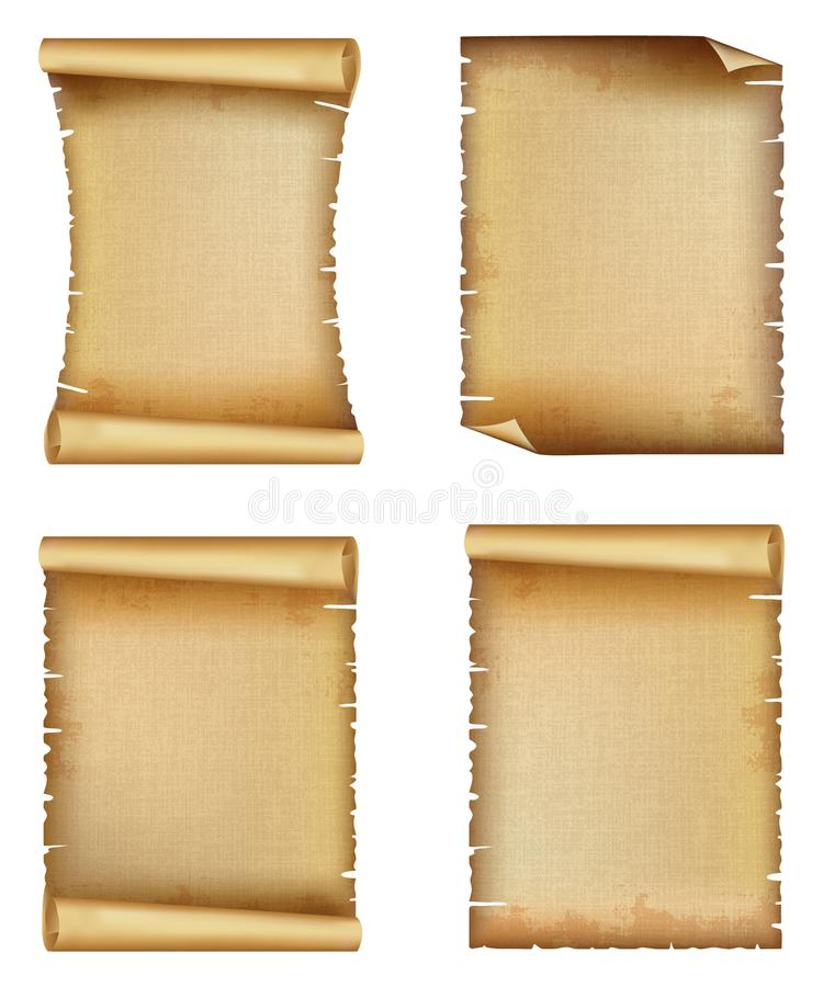 Old paper scroll or parchment set vector illustration