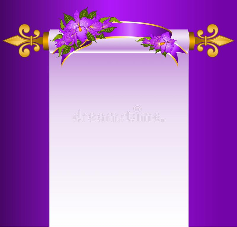Old paper in scrolls with orchids stock illustration