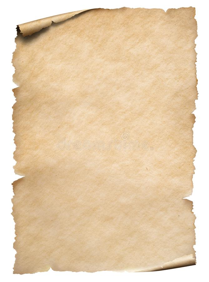 Old paper sheet isolated on white. Old paper textured sheet isolated on white stock photography