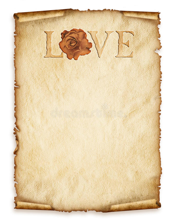 Old paper sheet, vintage aged old paper with rose and love stock illustration