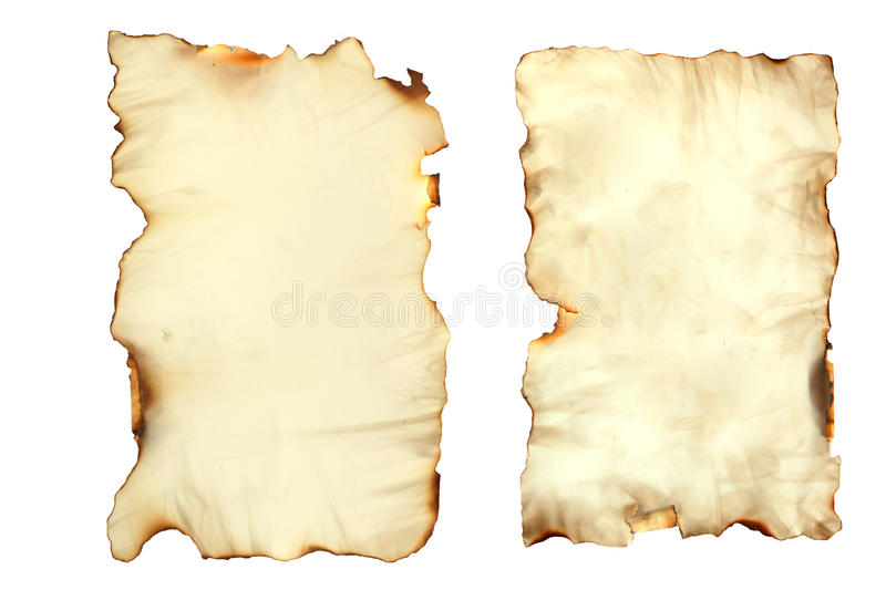 Old Paper Sheet on White. Photo image of an old paper sheet isolated on white, grunge burnt antique paper texture, empty old treasure map template royalty free stock images