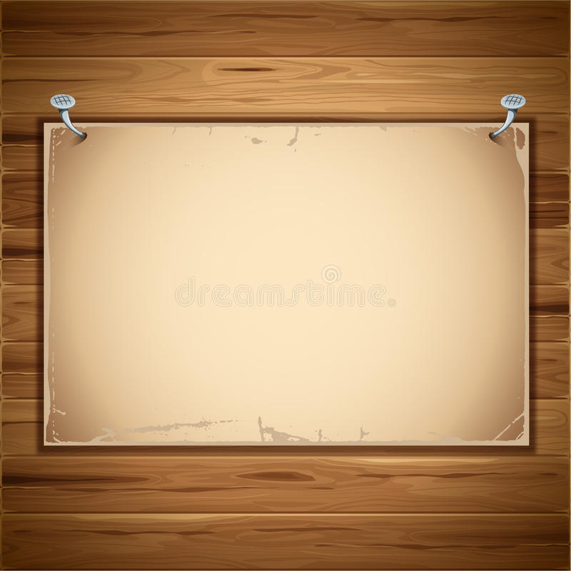 Old paper sheet on the wooden background vector illustration