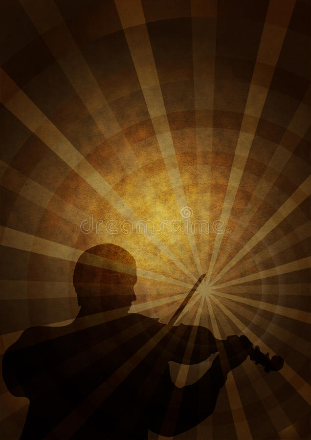 Old paper with a silhouette of a musician stock illustration