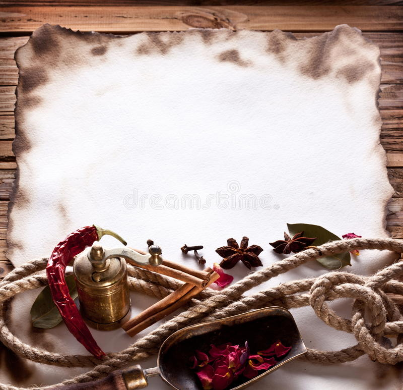 Old paper with spices