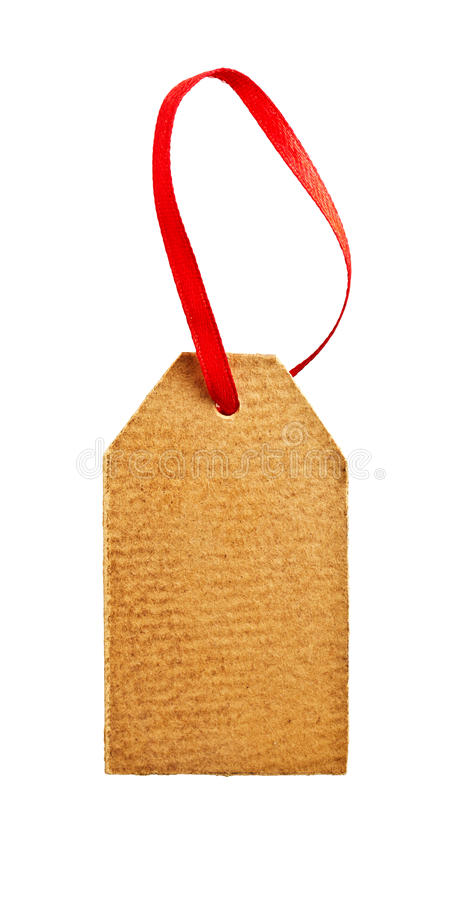 Paper tag. Old paper tag with red ribbon isolated on white stock photos