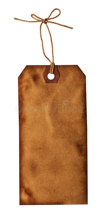 Old paper tag on a tied string royalty free stock image