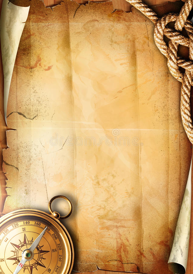 Old paper texture with a compass and rope stock image