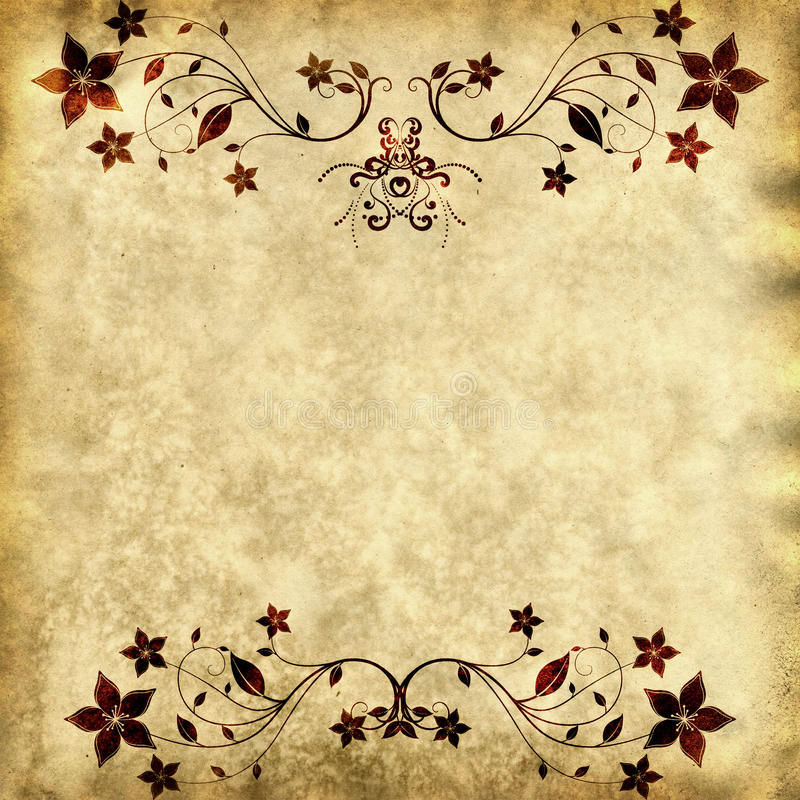Download Old Paper Texture With Floral Frame Stock Vector - Illustration of grunge, decorative: 13709364