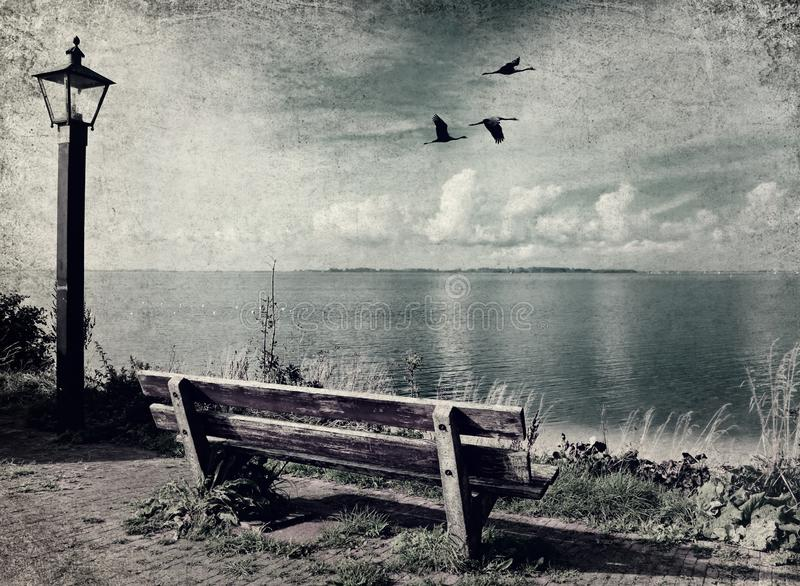 Holland nature landscape. Beautiful seaside with old wooden bench and lantern on the shore. Migrating birds over the bay water. Old paper texture with Holland stock images