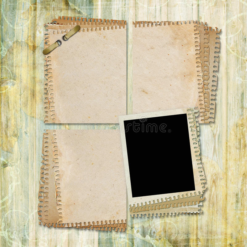 Old paper on textured background. In scrap-booking style royalty free illustration