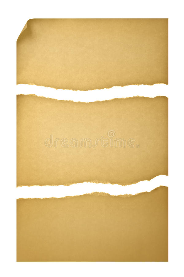 Free Old Paper Torn Into Three Pieces Stock Images - 16539234