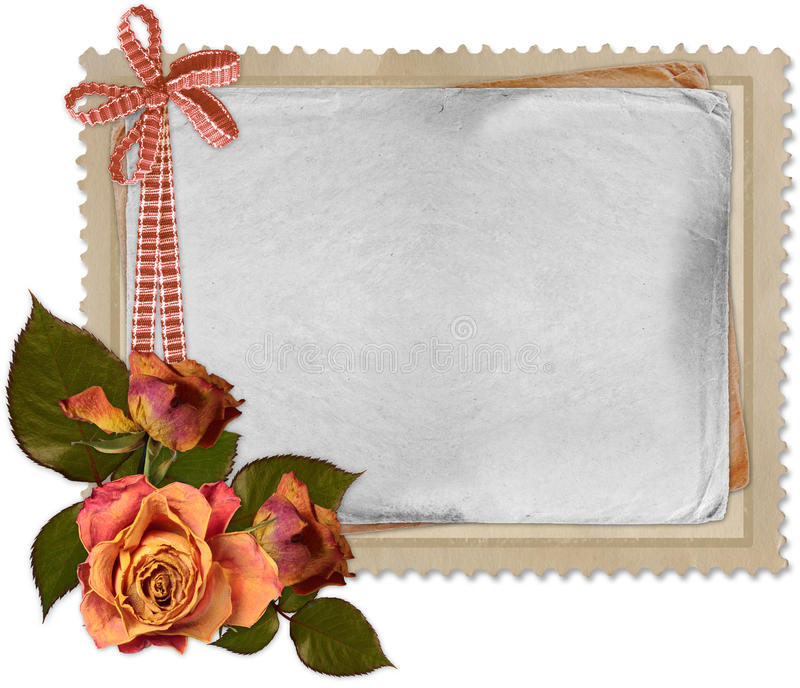 Old paper on white background. In scrap-booking style stock illustration