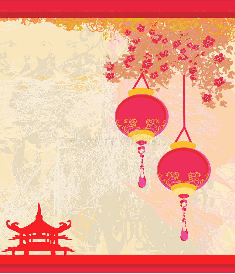 Free Old Paper With Asian Landscape And Chinese Lantern Royalty Free Stock Image - 23629216