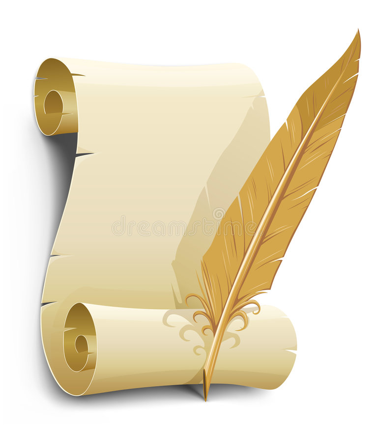 Free Old Paper With Feather Illustration Royalty Free Stock Images - 5688709