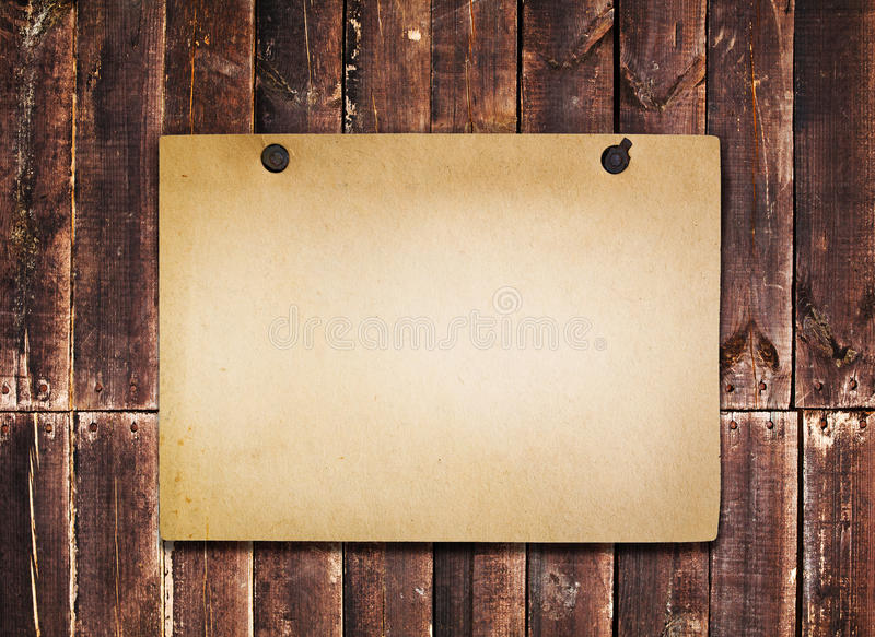 Old Paper On  Wood Background Royalty Free Stock Photography