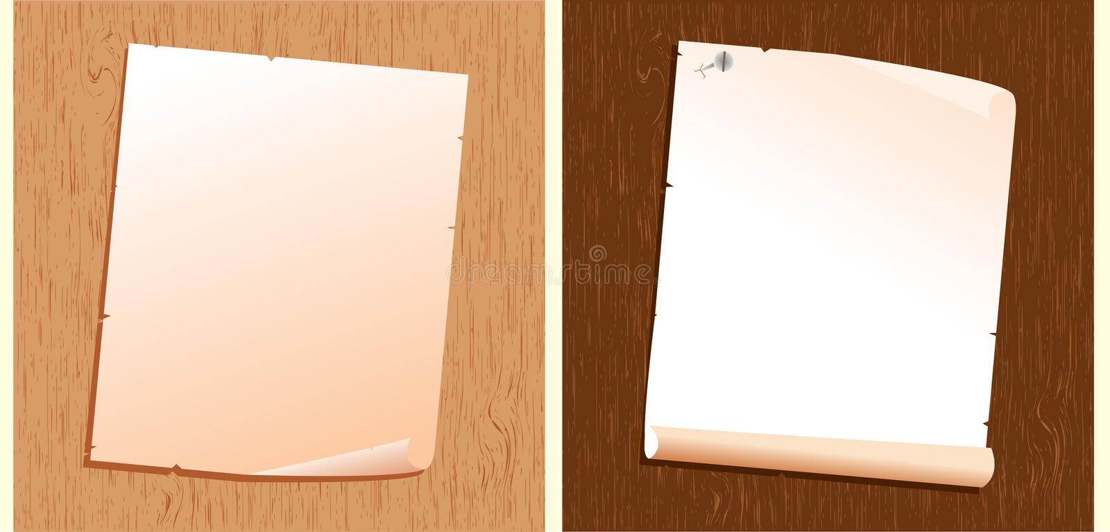 Old paper on wood texture.Vector backgrounds vector illustration