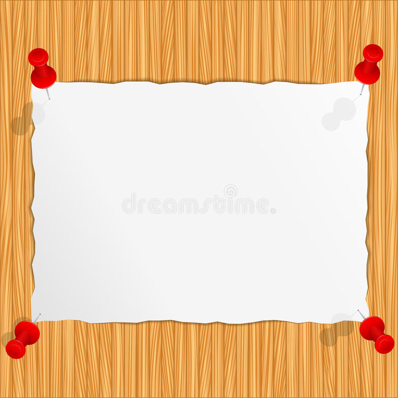 Old paper on wooden wall stock illustration