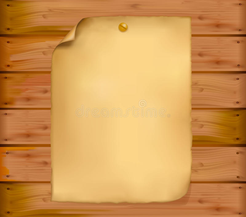 Old paper on a wooden wall. Vector. royalty free illustration